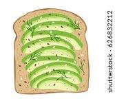 avocado toast. fresh toasted... | Shutterstock .eps vector #626832212