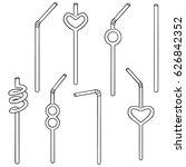 vector set of straw | Shutterstock .eps vector #626842352