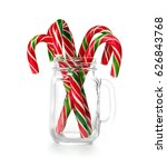 Christmas Candy Canes In Jar O...