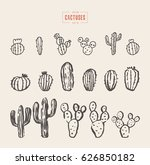 set of cactuses  hand drawn... | Shutterstock .eps vector #626850182