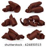 set of chocolate shavings on...   Shutterstock .eps vector #626850515