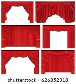 set of red luxury curtains and... | Shutterstock .eps vector #626852318