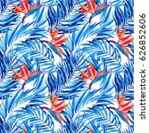 watercolor tropical leaves and... | Shutterstock . vector #626852606