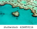 aerial view of the heart reef  | Shutterstock . vector #626853116