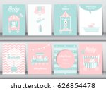 set of baby shower invitation... | Shutterstock .eps vector #626854478