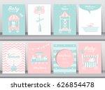 set of baby shower invitation... | Shutterstock .eps vector #626854478