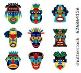 zulu or aztec mask vector icons....