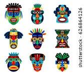 zulu or aztec mask vector icons.... | Shutterstock .eps vector #626864126