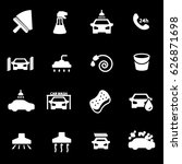 vector white car wash icons set ... | Shutterstock .eps vector #626871698