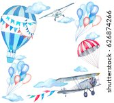 watercolor festive sky frame.... | Shutterstock . vector #626874266