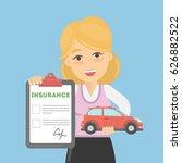 woman shows car insurance.... | Shutterstock .eps vector #626882522
