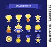 vector stickers of trophy ...   Shutterstock .eps vector #626889362