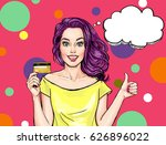 smiling girl with bank card.... | Shutterstock . vector #626896022