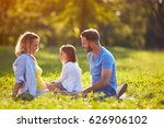 happy family together in green... | Shutterstock . vector #626906102