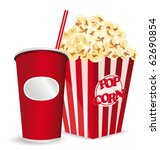 popcorn and soda | Shutterstock .eps vector #62690854