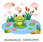 the frog sits on a leaf in the...   Shutterstock .eps vector #626912945