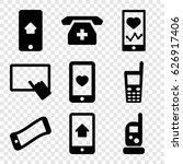 smartphone icons set. set of 9... | Shutterstock .eps vector #626917406