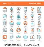 vector set of power and energy... | Shutterstock .eps vector #626918675
