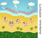summer beach with sand and blue ... | Shutterstock .eps vector #626926172