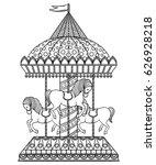 vintage carousel. hand drawn...   Shutterstock .eps vector #626928218