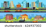 street with a set of colorful... | Shutterstock .eps vector #626937302