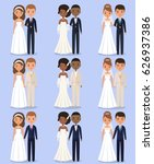 cartoon wedding characters.... | Shutterstock .eps vector #626937386