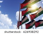 jordan flags waving in the wind ... | Shutterstock . vector #626938292
