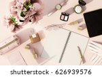 top view working space with...   Shutterstock . vector #626939576