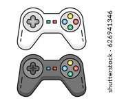 game controllers set. black and ... | Shutterstock .eps vector #626941346