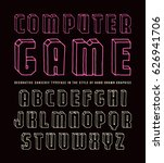 decorative sanserif bulk font.... | Shutterstock .eps vector #626941706