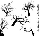 Spooky tree silhouette vector isolated on white