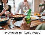 closeup of man with bottle of...   Shutterstock . vector #626949092