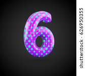 violet alphabet number 6 with... | Shutterstock . vector #626950355