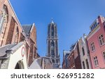 church tower and colorful... | Shutterstock . vector #626951282