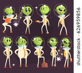 cute aliens in space suits ... | Shutterstock .eps vector #626959856