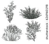 bushes silhouettes set | Shutterstock .eps vector #626960198