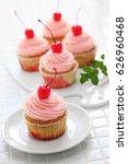 homemade cherry cupcake   Shutterstock . vector #626960468