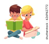 two kids  boy in glasses and... | Shutterstock .eps vector #626962772