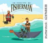 cartoon fisherman standing in... | Shutterstock .eps vector #626968838