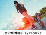runner feet running on road at... | Shutterstock . vector #626970986
