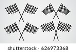 crossed checkered vector flags | Shutterstock .eps vector #626973368