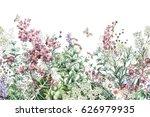 seamless rim. border with herbs ... | Shutterstock . vector #626979935