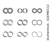 set of monochrome icons with... | Shutterstock .eps vector #626980112