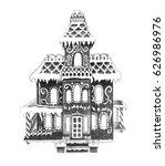 gingerbread house on white...   Shutterstock . vector #626986976