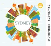 sydney skyline with color... | Shutterstock .eps vector #626987462