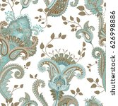 paisley floral seamless pattern.... | Shutterstock .eps vector #626998886