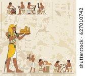 ancient egypt banner.egyptian... | Shutterstock .eps vector #627010742