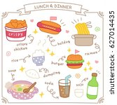 set of cute lunch and dinner... | Shutterstock .eps vector #627014435