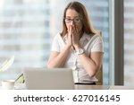 surprised businesswoman looking ... | Shutterstock . vector #627016145