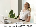 businesswoman takes short time... | Shutterstock . vector #627016808